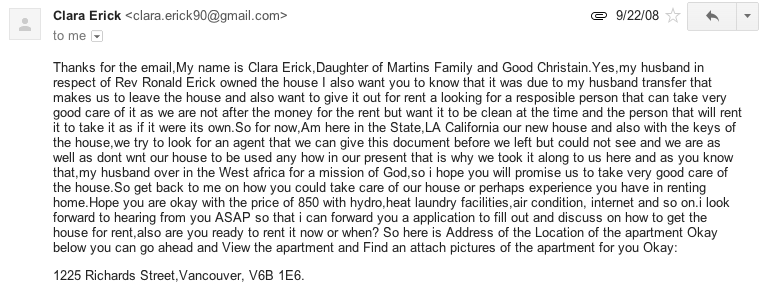 An Example Of A Scam E Mail I Have Encountered While Searching For An  Apartment
