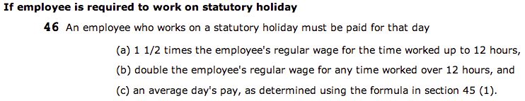 If employee required to work on a stat holiday