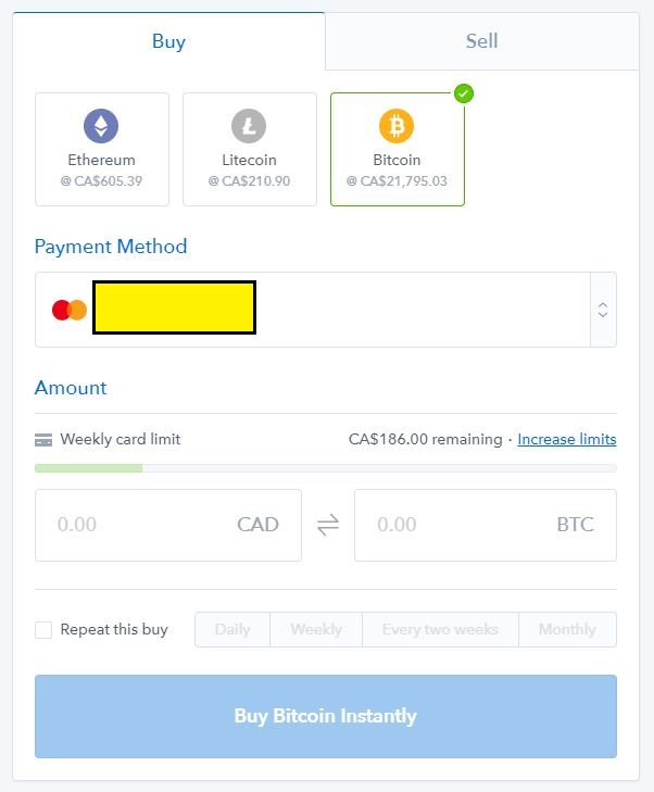 How to buy bitcoin ethereum and litecoin in canada simple vancouver once registered you will be able to buy 100wk if you want to increase the limit to 1000 you can verify your account by providing a photo of your ccuart Images